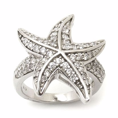Picture of Starfish Shape Cubic Zircon Cluster Ring in Sterling Silver