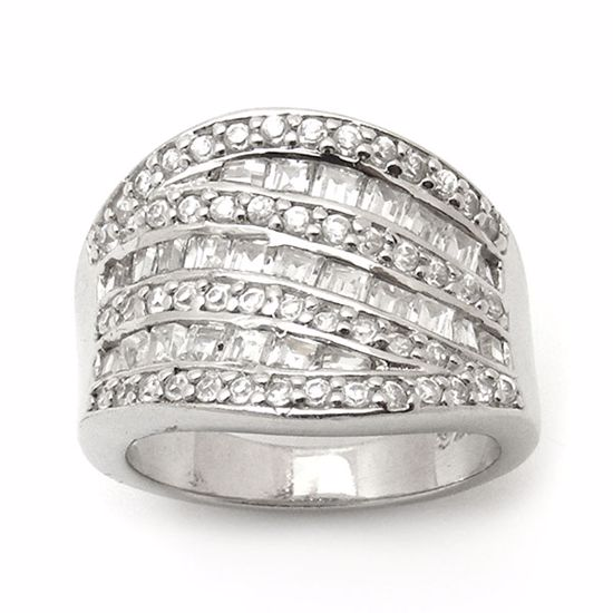 Picture of Chunky Round and Princess Cut CZ Cluster Ring in Sterling Silver