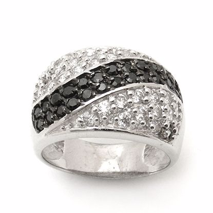 Picture of Black and White Cubic Zircon Cluster Ring in Sterling Silver