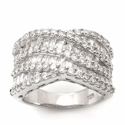 Picture of Round and Princess Cut Cubic Zircon Cluster Ring in Sterling Silver
