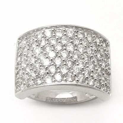 Picture of Chunky Round Cubic Zircon Cluster Ring in Sterling Silver