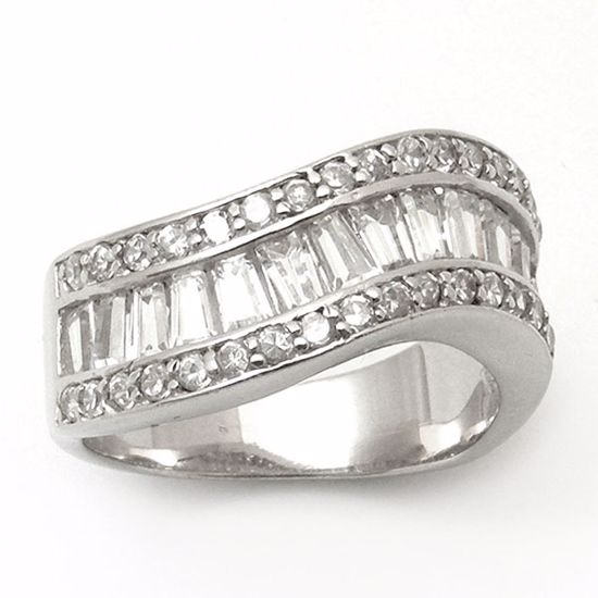 Picture of Wave Shape Round & Baguette CZ Eternity Ring in Sterling Silver