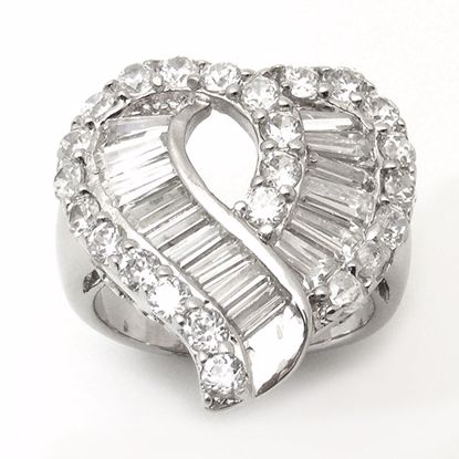 Picture of Chunky Heart Shape White CZ Cluster Ring in Sterling Silver