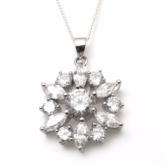 Picture of Round White Cubic Zircon Pendant in Sterling Silver