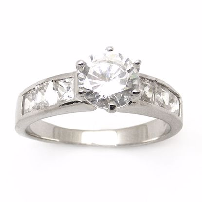 Picture of Round Brilliant CZ Shoulder Set Engagement Ring in Sterling Silver