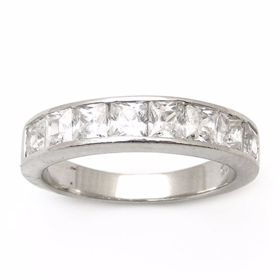 Picture of Princess Cut Cubic Zircon Half Eternity Ring in Sterling Silver