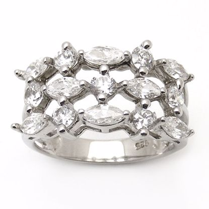 Picture of Round and Marquise Cubic Zircon Cluster Ring in Sterling Silver