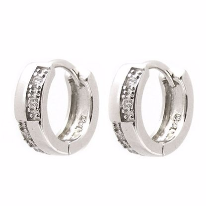 Picture of Amazing & Stylish White Cubic Zircon Hoop Earrings in Sterling Silver