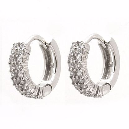 Picture of Beautiful White Cubic Zircon Hoop Earrings in Sterling Silver