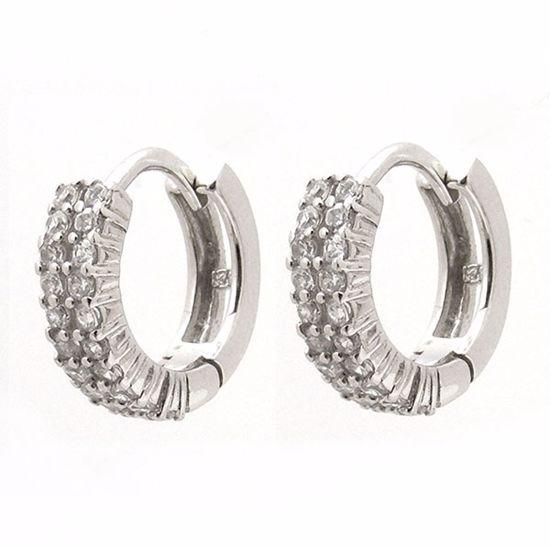 Picture of Beautiful White Cubic Zircon Hoop Earrings in Sterling Silver
