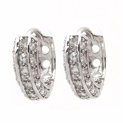 Picture of Contemporary 3D White CZ Hoop Earrings in Sterling Silver