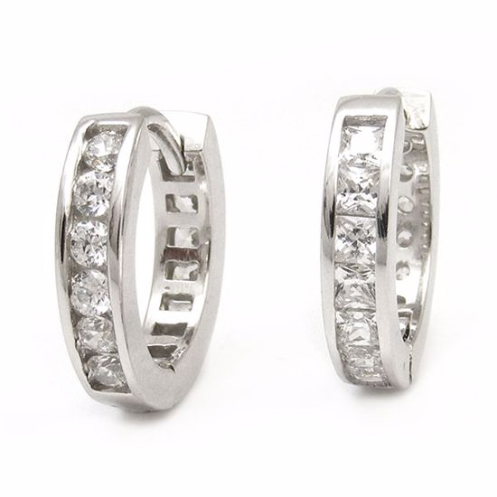 Picture of Contemporary Channel Set White CZ Hoop Earrings in Sterling Silver