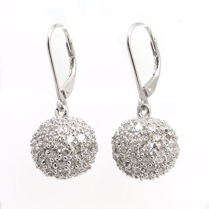 Picture of Stylish Round Ball Shape CZ Drop Earrings in Sterling Silver
