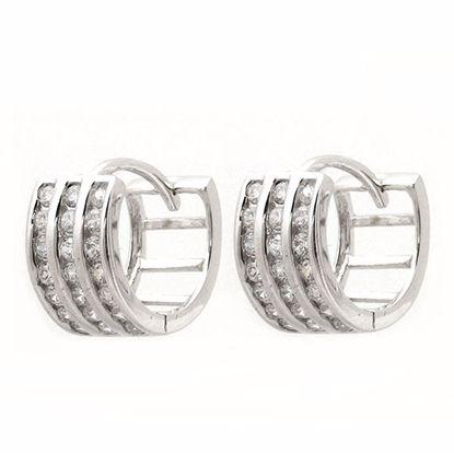 Picture of Triple Channel Set CZ Hoop Earrings in Sterling Silver