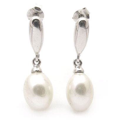 Picture of Amazing Oval Pearl Drop Earrings in Sterling Silver