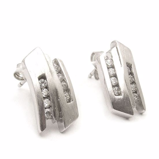 Picture of Channel set white CZ Earrings in Sterling Silver