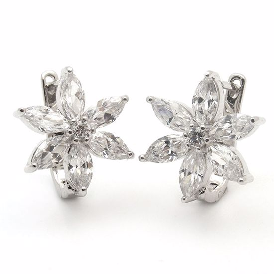 Picture of Beautiful Flower shape Sterling Silver Studs Earrings with CZ