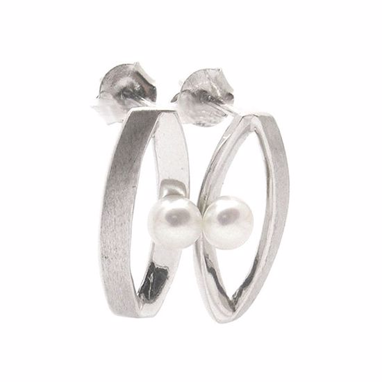 Picture of White Pearl Marquise Shape Earrings in Sterling Silver
