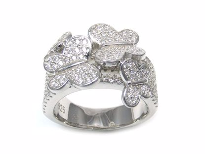 Picture of Round Cubic Zircon Butterflies Cluster Ring in Sterling Silver