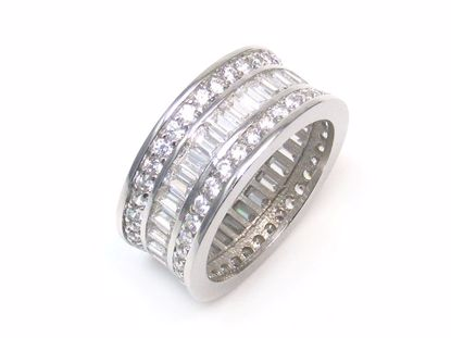 Picture of Clear Cubic Zircon Cluster Eternity Ring in Sterling Silver