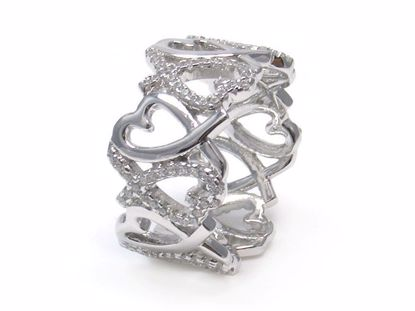 Picture of Round CZ Rhodium Plated Finish Heart Shape Ring in Sterling Silver