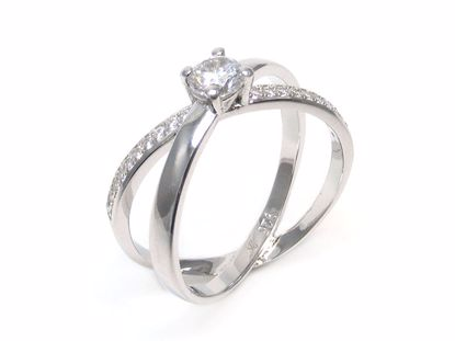 Picture of Round CZ Cross Bands Ring in Sterling Silver