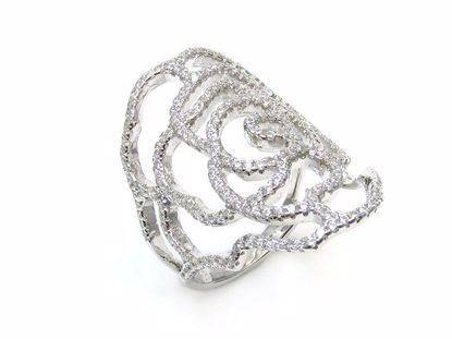Picture of Round CZ Flower Shaped Cluster Ring in Sterling Silver