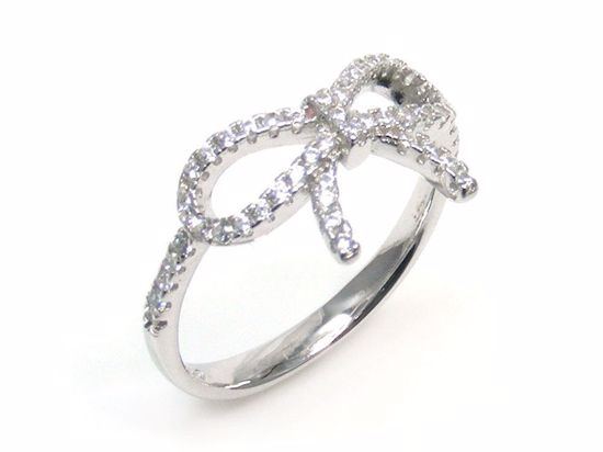 Picture of Round CZ Tie Knot Shape Ring in Sterling Silver