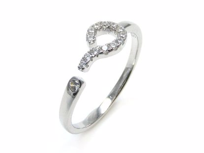 Picture of Round CZ Question Mark Shape Ring in Sterling Silver