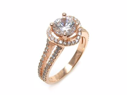 Picture of Round CZ Split Rose Gold Finish Shoulder Engagement Ring in Silver