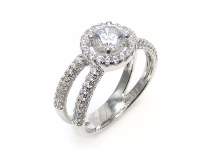 Picture of Round CZ Cross Split Shoulder Engagement Ring in Sterling Silver