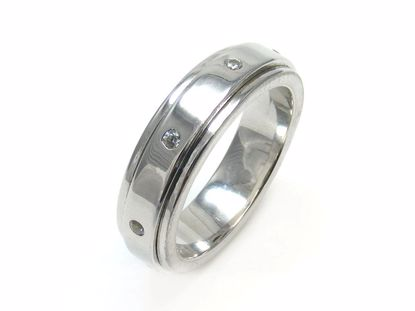 Picture of Round CZ Raised Surface Wedding Band Ring in Sterling Silver