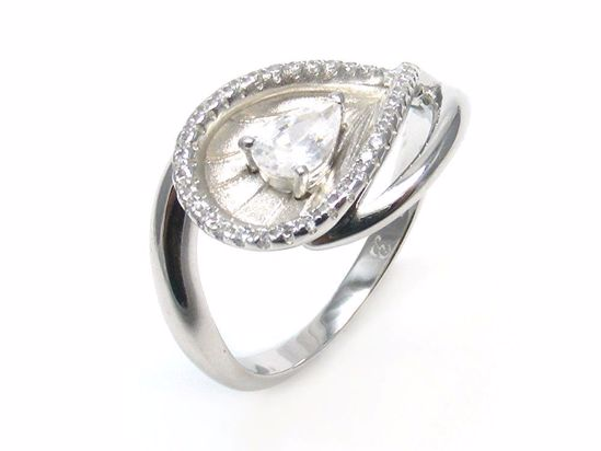 Picture of Pear Shape CZ Cluster Ring in Sterling Silver