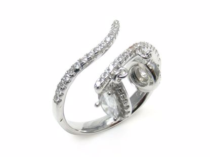 Picture of Pear Shape Drops Clear Cubic Zircon Stone Ring in Sterling Silver