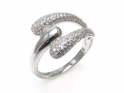 Picture of Clear Round CZ stones set in Split Band Ring in Stering Silver