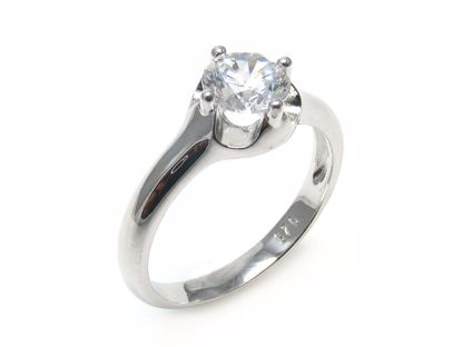 Picture of Round Clear CZ Solitaire Engagement Ring in Sterling Silver