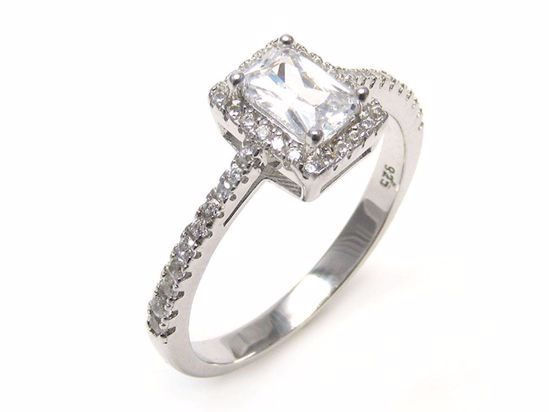 Picture of Emerald Cut Clear CZ Shoulder Stone Ring in Sterling Silver