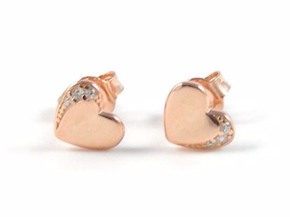 Picture of Silver Heart Shape Rose Gold White CZ Studs Earrings