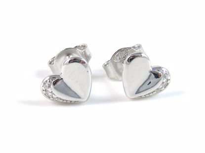 Picture of Silver Heart Shape High Polish White CZ Studs Earrings