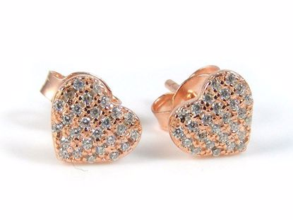 Picture of Silver Heart Shape Rose Gold Cluster CZ Studs Earrings