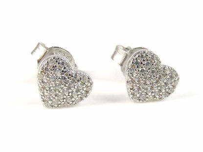 Picture of Silver Heart Shape High Polish Cluster CZ Studs Earrings