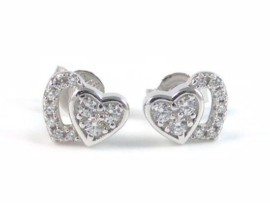 Picture of Silver Two Hearts High Polish Cluster CZ Studs Earrings