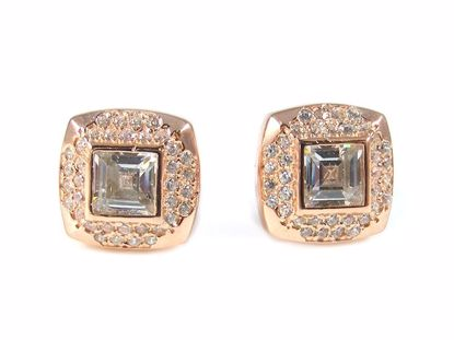Picture of Princess Cut CZ Silver Cluster Studs Earrings in Rose Gold Finish