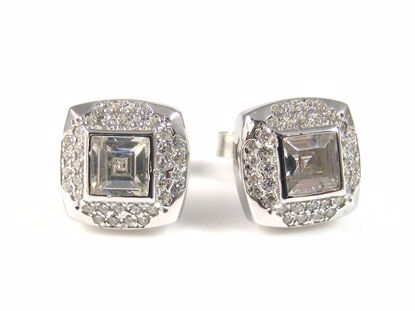 Picture of Princess Cut CZ Silver Cluster Studs Earrings in High Polish Finish