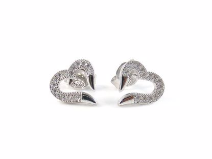 Picture of Clear CZ Heart Shape Silver Studs Earrings with High Polish Finish