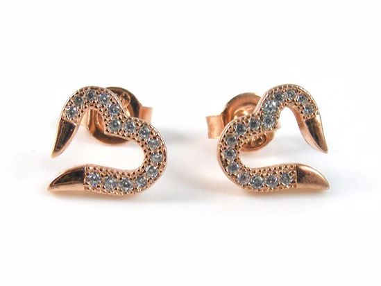 Picture of Clear CZ Heart Shape Silver Studs Earrings with Rose Gold Finish