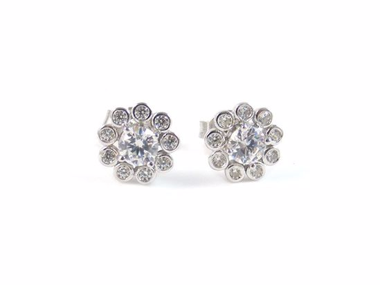 Picture of Clear CZ Round Cluster Studs Earrings in Sterling Silver