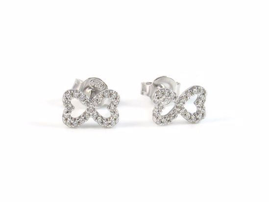 Picture of Clear CZ Two Joint Heart Studs Earrings in Sterling Silver