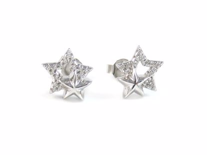 Picture of Round Clear CZ Twin Stars Studs Earrings in Sterling Silver