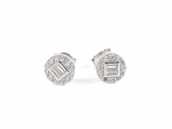 Picture of Baguettes & Round Clear CZ Cluster Studs Earrings in Sterling Silver